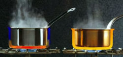 warmte geleiding koperen pan